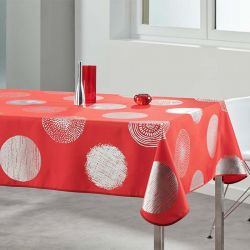 Tablecloth red with silver circles 350 X 148 French tablecloths