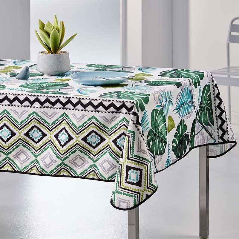 Tablecloth Monstera leaves 240 X 148 French tablecloths