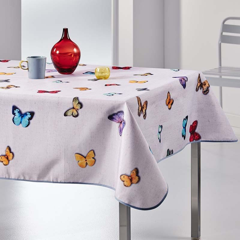Tablecloth gray with butterflies 240 X 148 French tablecloths