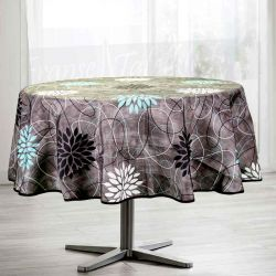 Tablecloth anthracite flowers blue 160 round French tablecloths