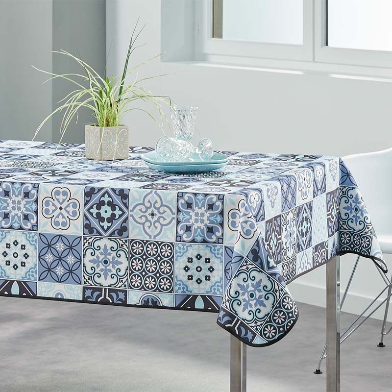 Tablecloth blue mosaic 240 X 148 French tablecloths