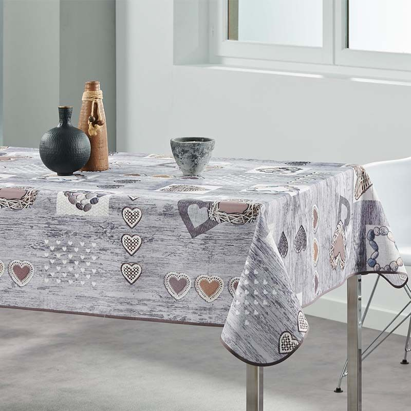 Tablecloth gray, anthracite with hearts 240 X 148 French Tablecloths