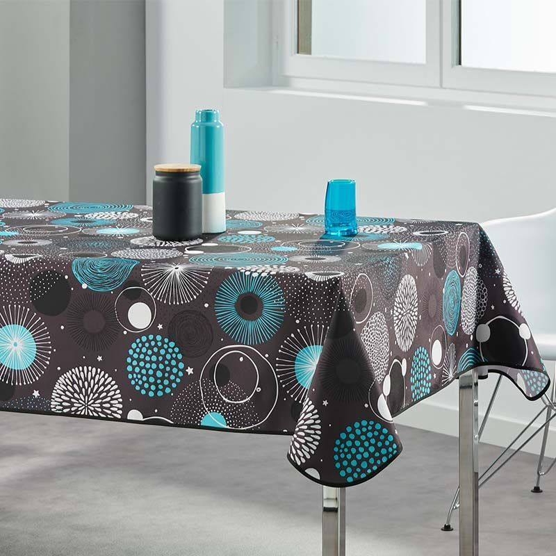 Tablecloth geometric blue turquoise 240 X 148 French tablecloths