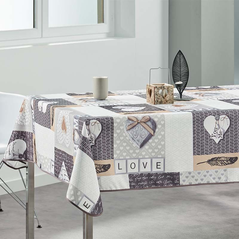 Tablecloth beige home, love 240 X 148 French tablecloths