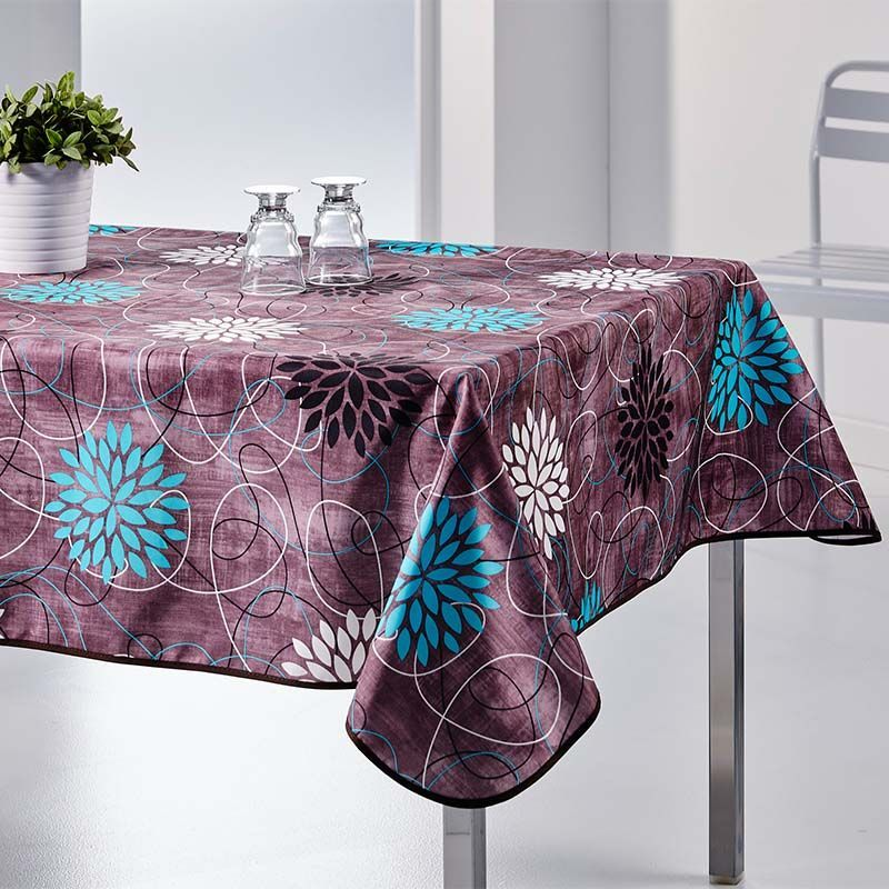 Tablecloth anthracite flowers blue 300 X 148 French tablecloths