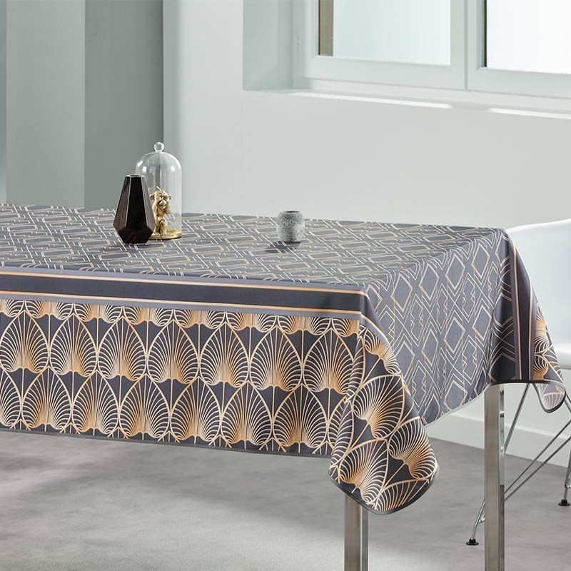 Tablecloth anthracite modern, elegant 200 X 148 French tablecloths