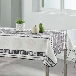 Tablecloth beige with gray mosaic 300 X 148 French tablecloths