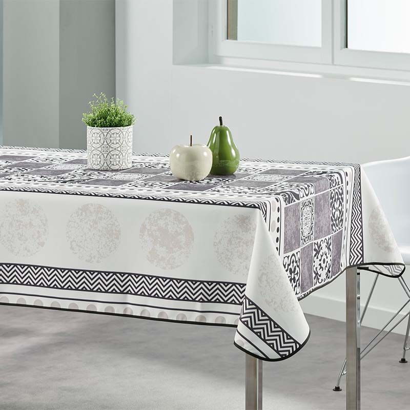 Tablecloth beige with gray mosaic 350 X 148 French tablecloths