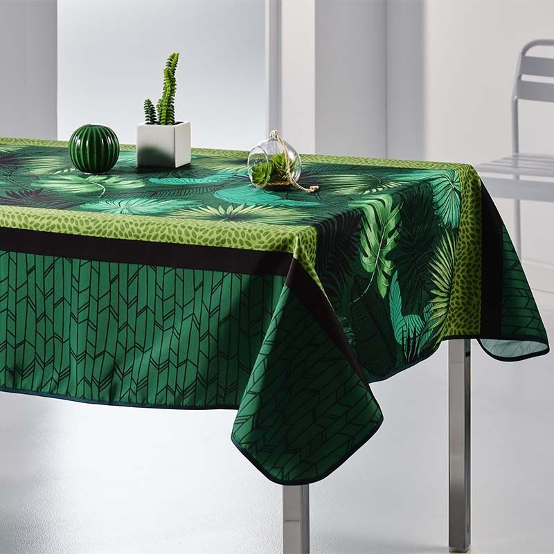 Tablecloth green with leaves 300 X 148 French tablecloths