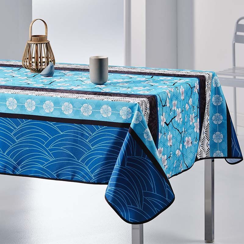 Tischdecke blau mit weißer blüte 240 x 148