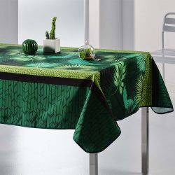 Tablecloth green with leaves 350 X 148 French tablecloths