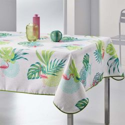 Tablecloth flamingo with leaves 200 X 148 French tablecloths