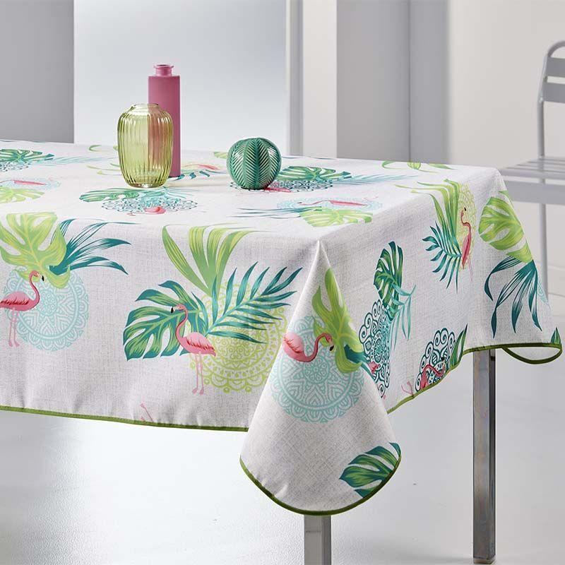 Flamingo mit blättern 350 x 148 französische Tischdecken