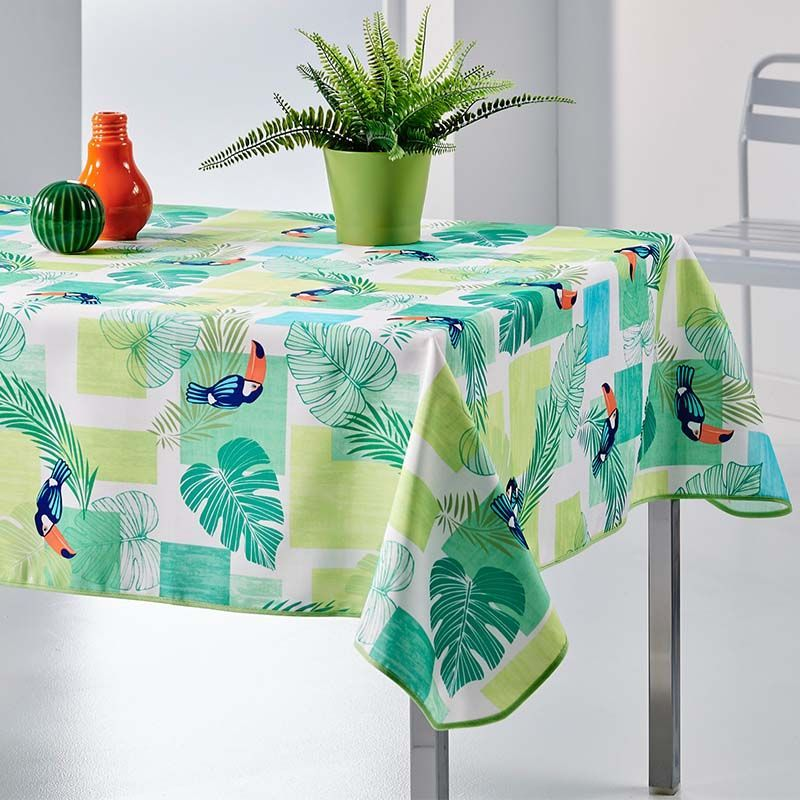 Tablecloth green toucan 300 X 148 French tablecloths
