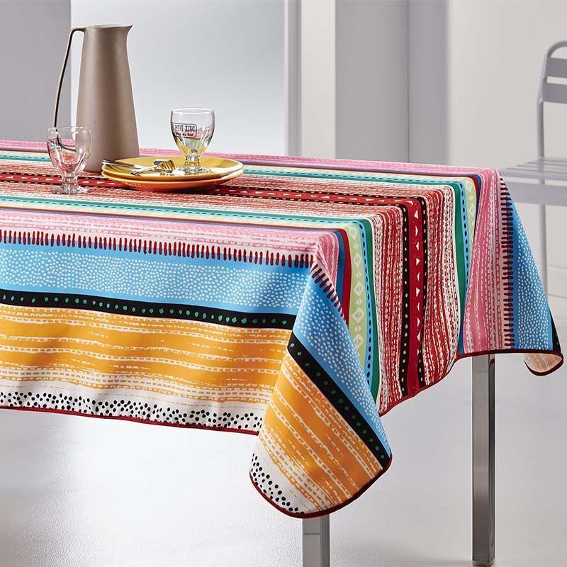 Tischdecke mehrfarbige Linien 240 X 148 französische tischdecken