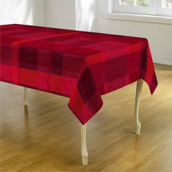 Tablecloth 160 cm Round rouge with red and shadow of leaves French tablecloths