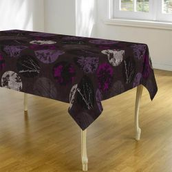 Tablecloth 240 oval taupe and lilac with leaves and circles French tablecloths