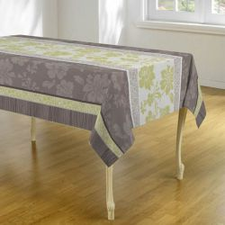 Tablecloth taupe green stripes with flowers 300 X 148 French tablecloths