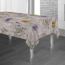 Tafelkleed houtprint met lavendel en zonnebloem 300 X 148 Franse Tafelkleden