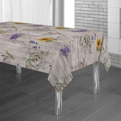 Tablecloth wood print with lavender and sunflower 300 X 148 French tablecloths