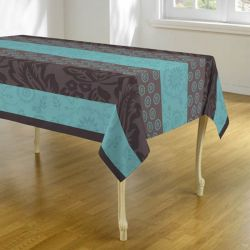Tablecloth light blue with leaves and circles 300 X 148 French tablecloths