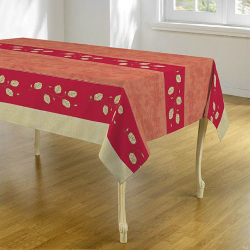 Tablecloth red, pink with leaves 300 X 148 French tablecloths