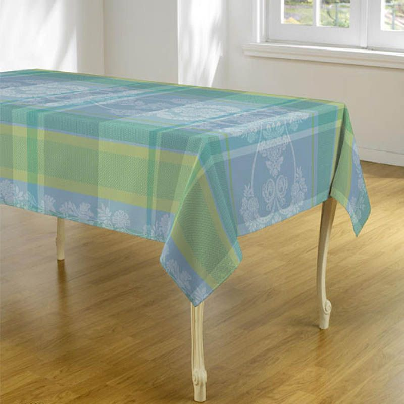 Tablecloth light blue with white leaves 300 X 148 French tablecloths