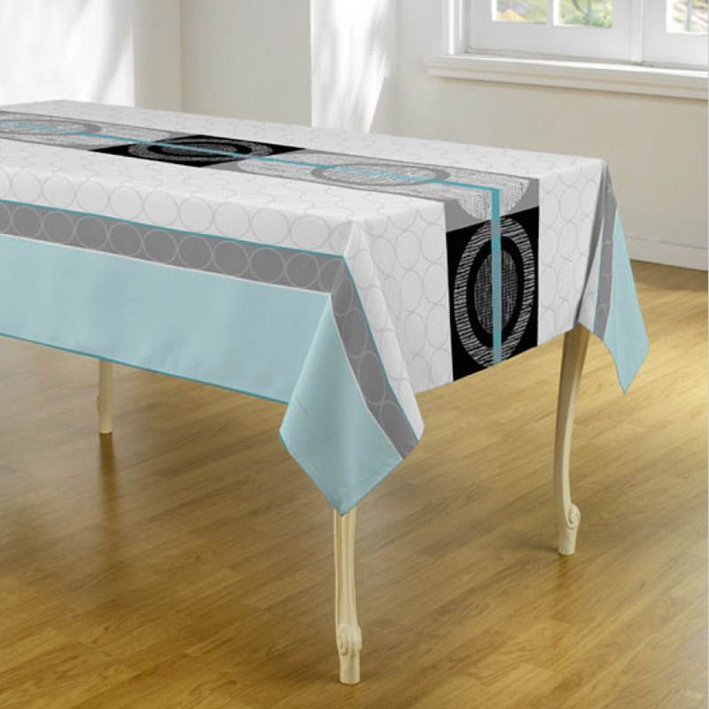 Tablecloth light blue gray circles 350 X 148 French tablecloths