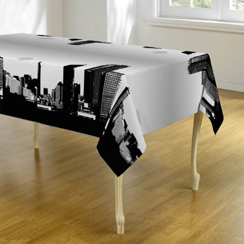 Tablecloth black white with New York 350 X 148 French tablecloths