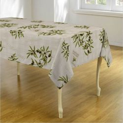Ecru tablecloth with olives and leaves 350 X 148 French tablecloths