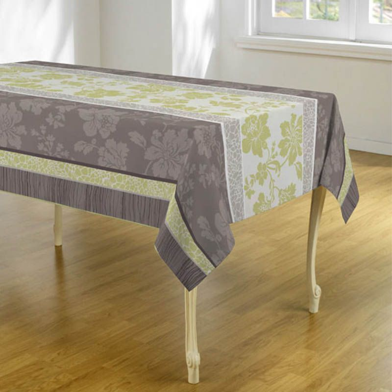 Tablecloth taupe green jobs with flowers 240 X 148 French tablecloths