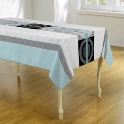 Tablecloth light blue gray circles 240 X 148 French tablecloths