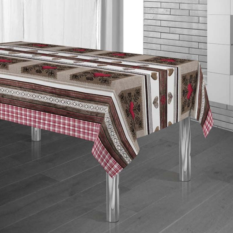 Tablecloth brown, red with hearts 240 X 148 French tablecloths