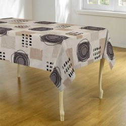 Tablecloth beige, taupe with circles 240 X 148 French tablecloths