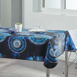 Tablecloth tie dye blue 300 X 148 French tablecloths