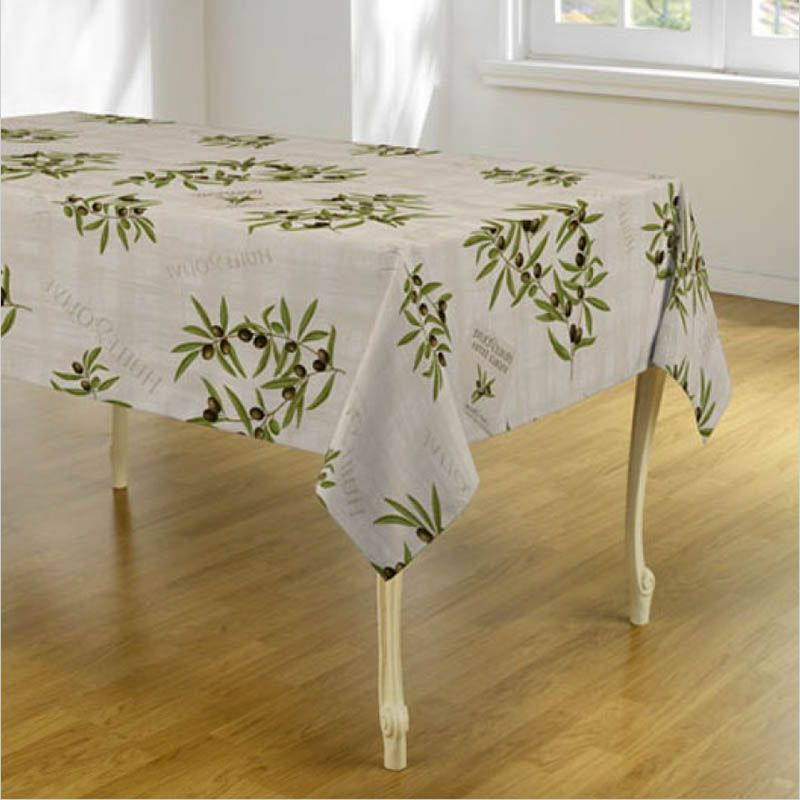 Ecru tablecloth with olives and leaves Round 160 French tablecloths