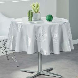 Tablecloth gray with silver circles 160 round French tablecloths