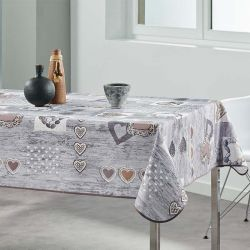 Tablecloth gray, anthracite with hearts 200 X 148 French Tablecloths
