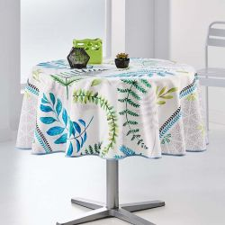 Tablecloth white with leaves 160 round French tablecloths