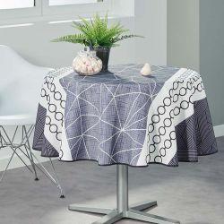 Tischtuch weiß mit abstrakten Kreisen 160 runde Französisch tischdecken