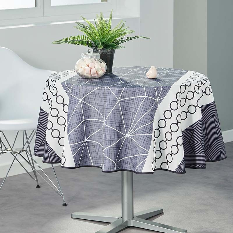 Tablecloth white with abstract circles 160 round French tablecloths