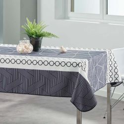 Tablecloth 240x148 cm Rectangle white with abstract circles French tablecloths