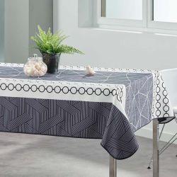 Tischdecke 240x148 cm Rechteckweiss weiß mit abstrakten Kreisen französischen tischdecken