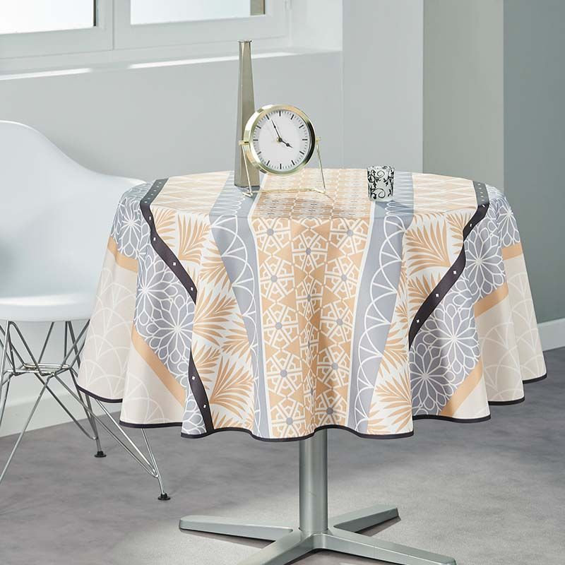 Tablecloth beige, gray abstract 160 round French tablecloths