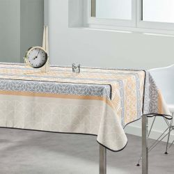 Tablecloth 240x148 cm Rectangle beige, gray abstract French tablecloths