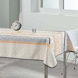 Tafelkleed 240x148 cm Rechthoek beige, grijs abstract Franse Tafelkleden