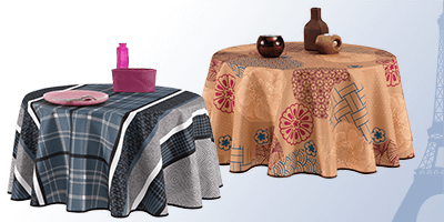 Round French tablecloths of high quality for inside and outside