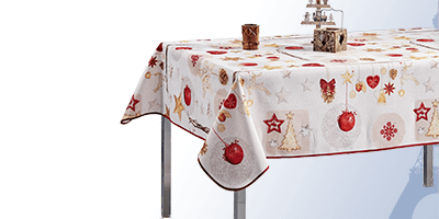 Tablecloths for occasions such as Christmas, zen, buddha and animals.