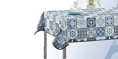 Rectangle 240 x 148 cm polyester tablecloth for indoors and garden.
